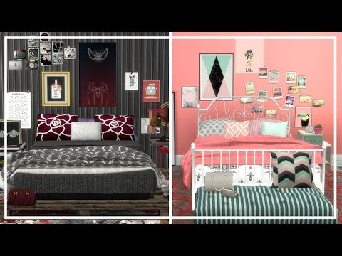 OPPOSITE TWINS BEDROOM SIMS 4 + CC List | Room Build