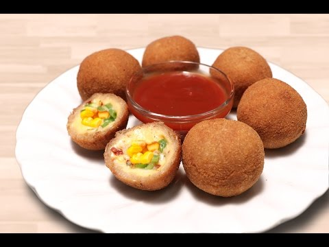 Cheese Corn Balls  - Quick Easy Party Appetizer - Evening Kid's Snacks Recipe