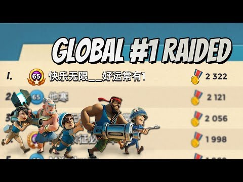 Boom Beach Global #1 player Raided with Full Zookas (7 Boosted Ice Statues)