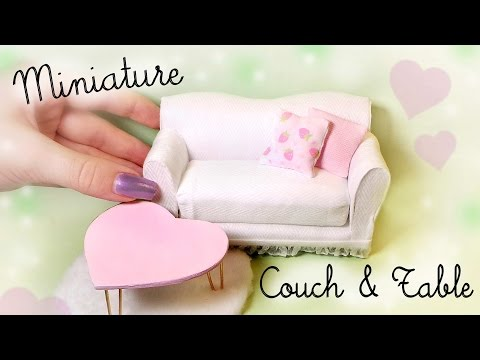 Cute Miniature Couch & Table Tutorial // Dolls/Dollhouse