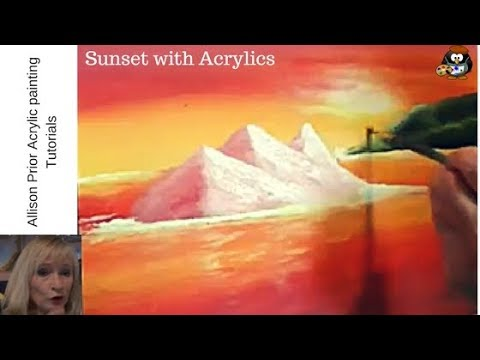 How to paint a SUNSET  with Acrylic paint for beginners step by step ..