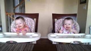11 Month Old Twins Dancing to Daddy