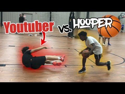 HE MADE HIM FALL!! 1V1 YouTuber vs RANKED BASKETBALL PLAYER!