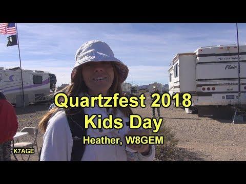 Kid's display their fox hunt transmitters at Quartzfest 2018