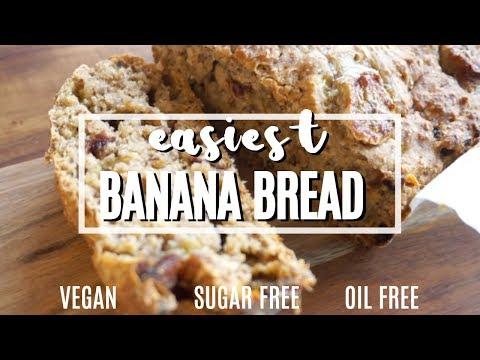 Easiest Banana Bread !! Vegan, Oil Free + Sugar Free !!