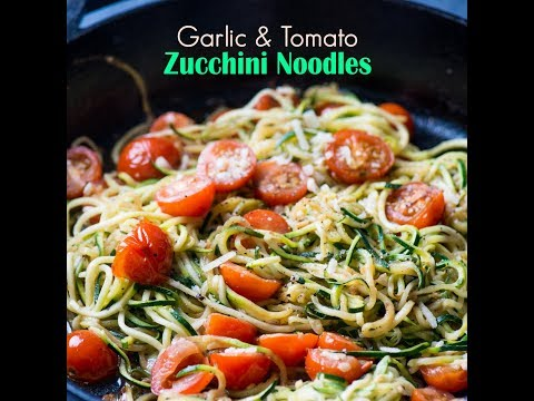 Italian-style Zoodles - Zucchini Noodles with Garlic, Tomato, & Parmesan