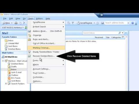 How to recover deleted e-mail from Outlook 2007