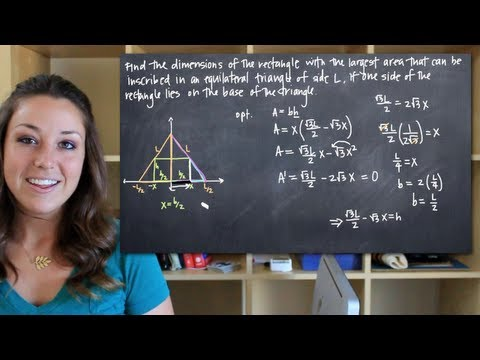 Dimensions of the rectangle with largest area inscribed in an equilateral triangle (KristaKingMath)