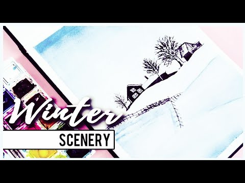 How to Paint a Winter Scenery with Watercolors for Beginners   Art Journal Thursday Ep. 27