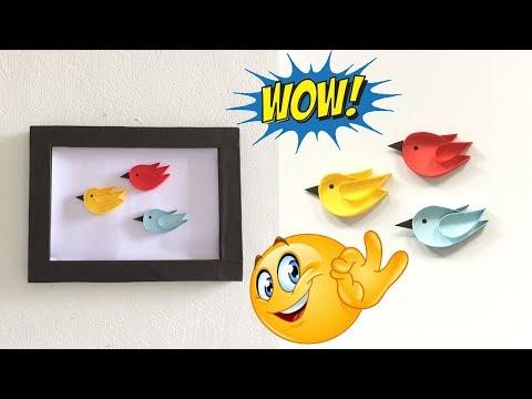 Best craft idea | How to make paper 3D flying birds | Photo frame | easy diy craft idea | #DotsDIY