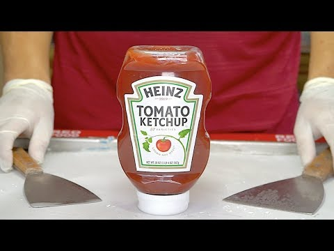 Tomato Ketchup Ice Cream Rolls - Watch till end
