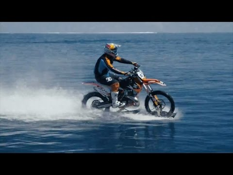 Daredevil Shockingly Surfs a Wave While Riding a Motocross Bike!