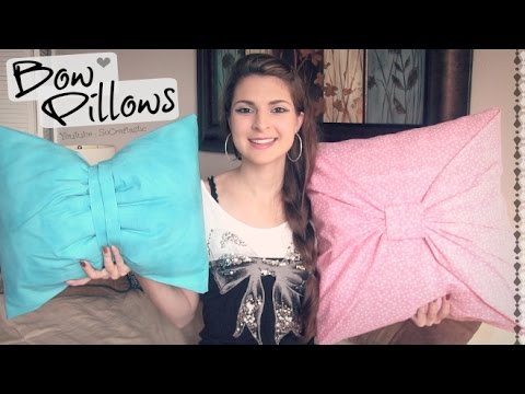 DIY No-Sew BOW PILLOW Cover - ROOM DECOR How To| SoCraftastic
