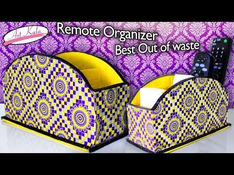 How to make remote holder   Remote organizer   Best out of waste   DIY   Artkala 127