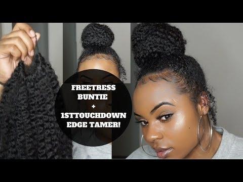 NATURAL BUN W/ FAKE HAIR   FREETRESS BUNTIE & 1ST TOUCHDOWN EDGE TAMER!
