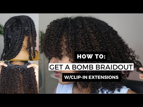 Installing & Blending KinkyCurlyYaki Clip ins With Natural Hair Tutorial || Braid Out Method