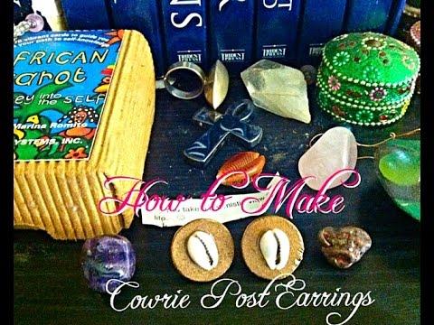 DIY#7  How to make Cowrie Post Earrings (Stud Earrings)