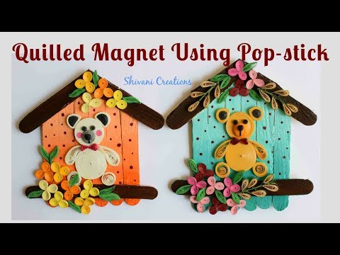 Quilled Pop Stick Magnet/ Quilling Fridge Magnet/ Popsicle Sticks Carft