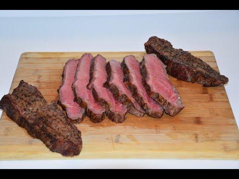 New York Strip Roast - Slow 'N Sear - Weber Kettle Grill - Smoked Beef Loin
