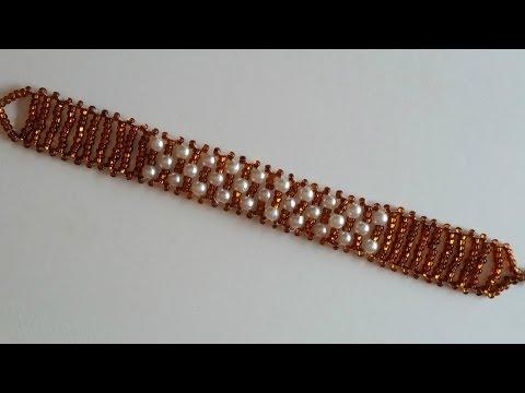 Beaded Bracelet for Beginners. Seed beads and pearl beads bracelet