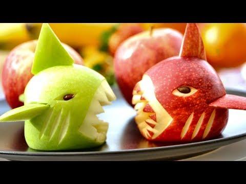 How to Make Apple Shark Garnish - Fruit Carving Video For Beginner