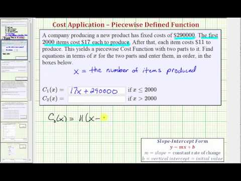 Ex: Determine a Piecewise Linear Cost Function