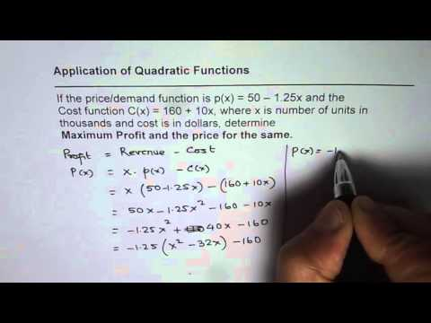 3 Maximum Profit From Demand and Cost Quadratic Function Application