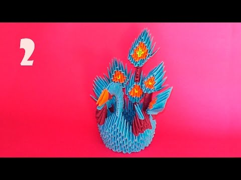 How to make 3D origami Peacock (Firebird, the king of birds) tutorial