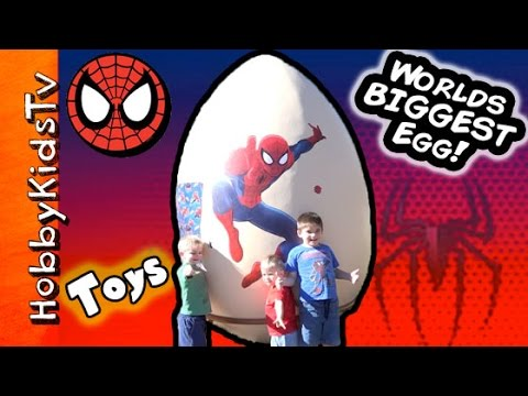GIANT Spiderman Surprise Egg with HobbyKidsTV