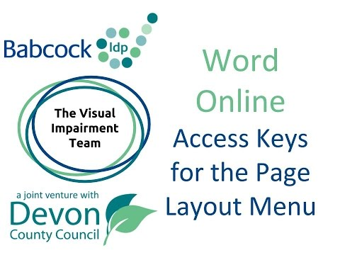 Word Online- Access Keys For The Page Layout Menu