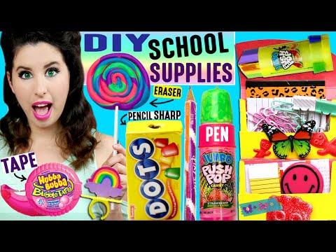 DIY Candy School Supplies | Push Pop Pen, Ring Pop Eraser, Hubba Bubba Tape, Skittles Push Pins!