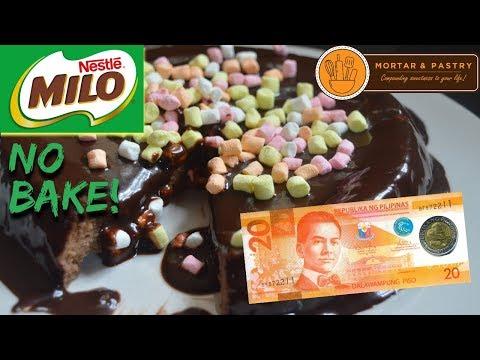 30 PESOS NO BAKE MILO CAKE!   HOW TO MAKE 3-INGREDIENT FLOURLESS CAKE   Ep. 12   Mortar & Pastry