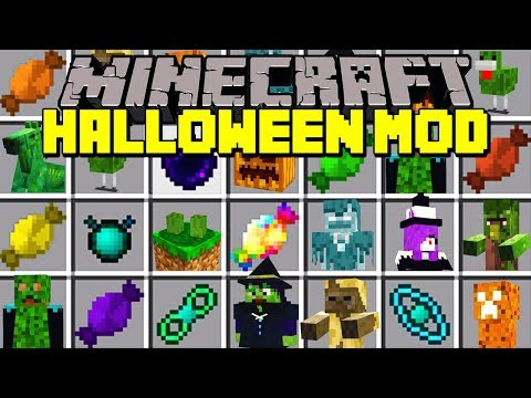 Minecraft HALLOWEEN MOD! | SPOOKY MOBS, PUMPKIN CREEPERS, TRICK OR TREAT, & MORE! | Modded Mini-Game