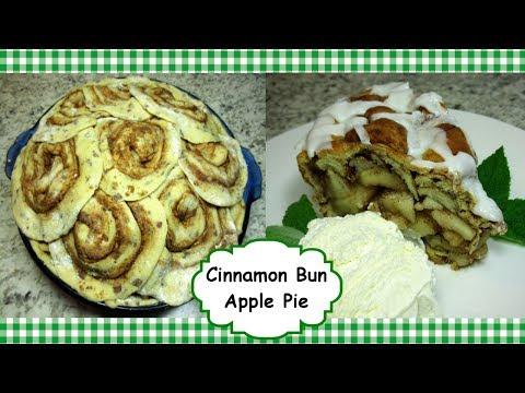 How To Make Cinnamon Bun Apple Pie ~ Cinnamon Roll Crust Apple Pie Recipe