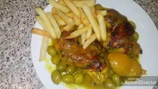 الدجاج بالفريت والزيتون | Poulet aux olives et frites نتمنا يعجبكم
