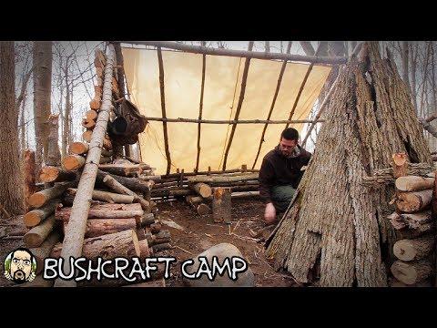 Bushcraft Camp - NEW Cooking Methods, Smoking Meat, Burn Bowl