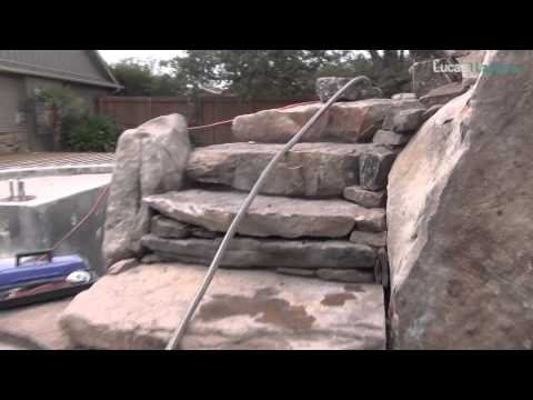 Natural Stone Stairway with Boulders up to a Rooftop Garden above Grotto Waterfalls for Pool Design
