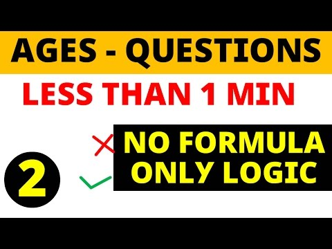 Ages problems less than 1 minute - NO FORMULA for  SSC , BANK PO , other Govt exams
