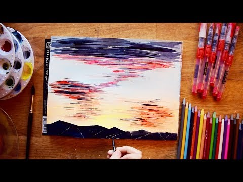 Paint an easy L.A. sunset in watercolors [REAL TIME]