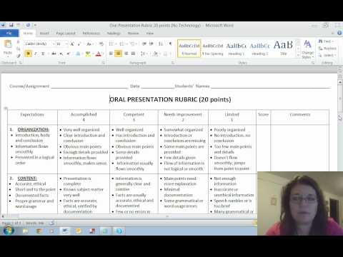 Oral Presentation Assignment and Rubric