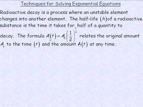 Techniques For Solving Exponential Equations Part 1
