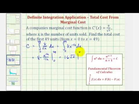 Ex: Definite Integral of Marginal Cost to find Total Cost