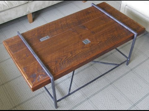 Reclaimed Wood Coffee Table Top with Metal Base