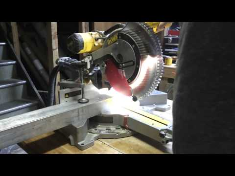 Cutting thick aluminum beam with miter saw