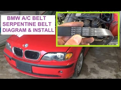 Bmw E46 X3 X5 E39 Serpentine Belt and A/C Belt Install  Belt diagram 323i 325i 328i 330i 525i 530i