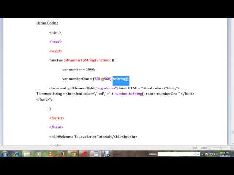 TAMIL HOW TO CONVERT A NUMBER TO STRING IN JAVASCRIPT DEMO