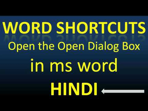 what is the shortcut key to open the open dialog box in ms word
