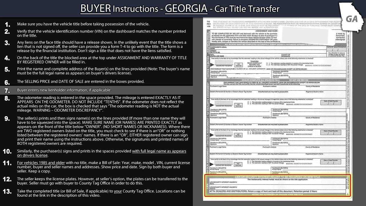 Georgia Title Transfer BUYER Instructions