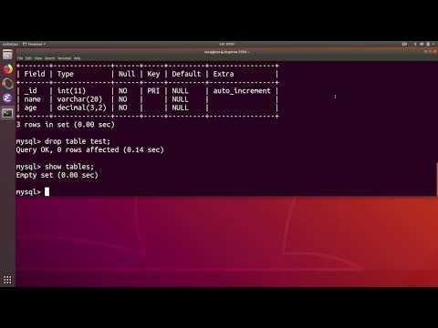 MySQL Tutorial 2 : Create and Delete Table in Ubuntu Linux