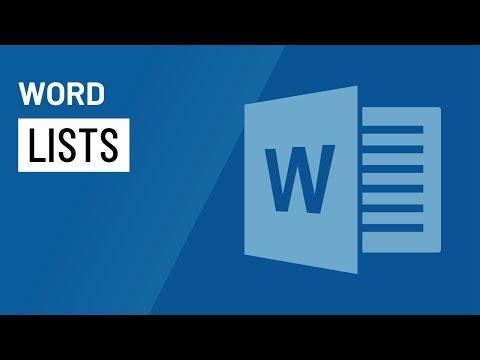 Word 2016: Lists